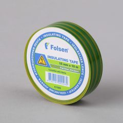 Insulating tape 15mmx10m, 120µm, yellow/green, PVC