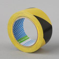 Warning tape 50mmx33m, black/yellow, PVC