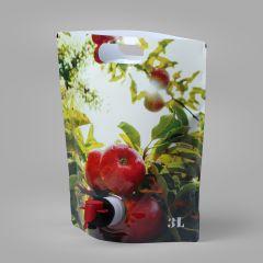 """Пакеты StandUp """"яблоки""""  для сока 3л с краном, LDPE"""