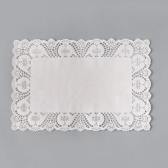 White paper square lace doily 250x380mm, 100pcs/pack