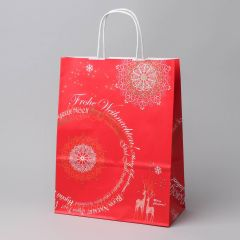 Red paper gift bag Christmas Fantasy with twist handle 240+110x310mm