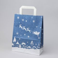 Blue paper gift bag Sleigh with flat handle 220+105x280mm