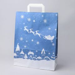 Blue paper gift bag Sleigh with flat handle 320+140x420mm