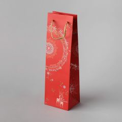 Red paper gift bag for bottle Christmas Fantasy, rope handles 110+90x360mm