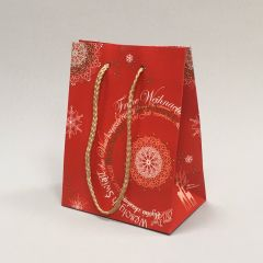 Red paper gift bag Christmas Fantasy with rope handles 160+100x210mm