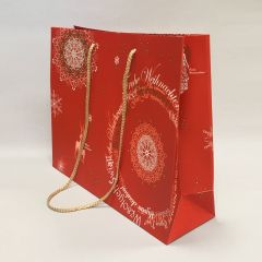 Red paper gift bag Christmas Fantasy with rope handles 400+120x320mm