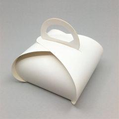 Koogikarp sangaga 100x100x80mm, valge kartong, pakis 10tk