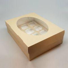 Kartongist 12 muffini karp PP aknaga 330x250x100mm, pakis 25tk