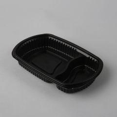 Must 2-osaline toidukarp M-8010, 235x145x35mm, PP, pakis 100tk