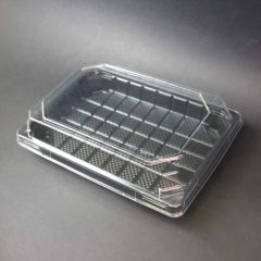 Black sushi tray K-301, 300ml, 185x130x19mm, OPS, 450pcs/box