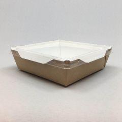 Kandiline kartongkarp PET kaanega 900ml, 150x150x50mm pruun-valge, pakis 50kmpl