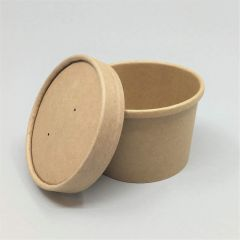 Brown paper soup cup with lid 230ml, ø75mm, 25set/pack
