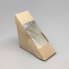 With window kraft triangle sandwich pack 130x60mm, 50pcs/pack