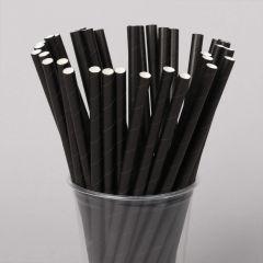 Biodegradable plain black paper straw 205x8mm, 250pcs/pack