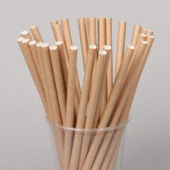 Biodegradable plain brown paper straw 205x6mm, 250pcs/pack