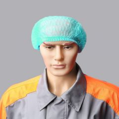 Hair net cap with elastic band green, latex free PP, 100pcs/pack