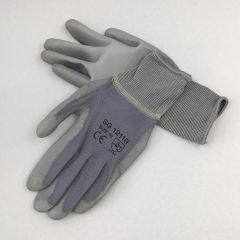 Gray nailon work gloves PU palm coated nr 9, 12pairs/pack