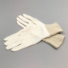 Knitted white cotton gloves nr 7, 12pairs/pack