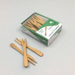 Бамбуковые вилки для закусок 90мм, 24шт/упак