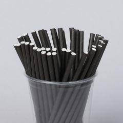 Biolagunev paberist kokteilikõrs 155x6mm must, pakis 250tk