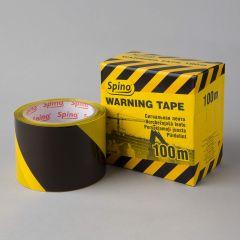 Warning tape Spino 70mmx100m, black/yellow, PE