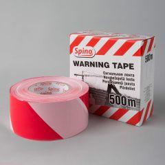 Warning tape Spino 75mmx500m, white/red, PE