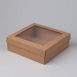 Kartongist kinkekarp aknaga 245x245x80mm, pruun