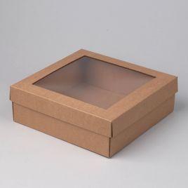 Kartongist kinkekarp PE aknaga 320x320x80mm, pruun