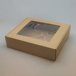 Kartongist kinkekarp PVC aknaga 330x300x80mm, pruun