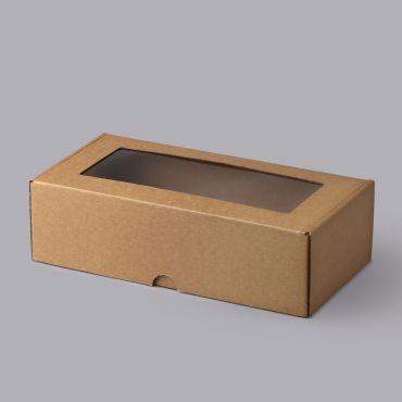 Kartongist kinkekarp aknaga 320x165x93mm, pruun