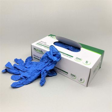Nitriilkindad puudrita Kleen S, sinine PPE, pakis 200tk